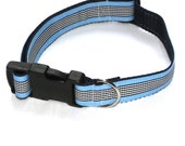 Blue Stripe Dog Collar - size Medium/Large, pet collar, pet accessory, dog accessory, dog jewelry
