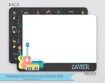 Colorful Musical Instrument Chalkboard Thank you notes DIY - Instant Download & Editable File - Personalize at home with Adobe Reader