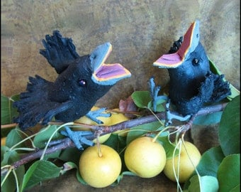 A Pair of Soft Sculpture Textile Baby Crows