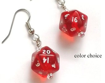 Geekery Mini D20 Dice Earrings COLOR CHOICE Gamer geek gifts polyhedral rpg stocking stuffers party favors dnd nerd dork shower game piece