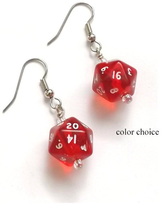 Geekery Mini D20 Dice Earrings color choice Gamer geek gifts polyhedral rpg stocking stuffers party favors dnd nerd dork game piece jewelry