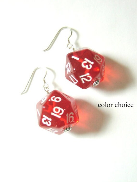Geeky D20 Dice Earrings color choice Funky Cute geekery gamer gifts jewelry stocking stuffers recycled rpg dnd party favors polyhedral dork