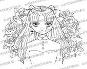 Rose Pirate Girl Digital Stamp, Digi Stamps, PNG, Halloween Skulls, Gothic Lolita, Colouring Page, Cardmaking Supply, Instant Download