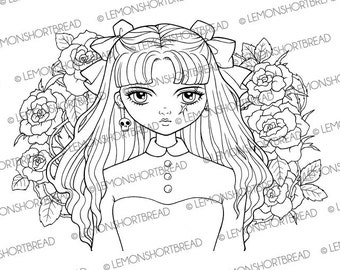 Digital Stamp Pirate Girl Roses, Digi Download, Flower Goth, Floral, Halloween Gothic, Coloring Page, Scrapbooking Supplies, Clip Art