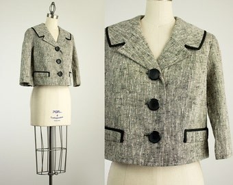 Vintage 1960s American Vogue Gray Tweed Cropped Coat / Size Small / Medium