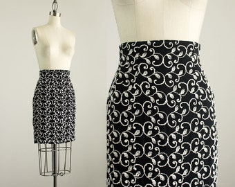 90s Vintage Black And White Scroll Embroidered Mini Skirt / Size Small