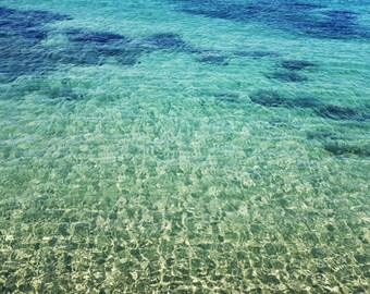 "Beach ocean photography print, Greece aqua teal blue water large wall art ""Aegean Beauty"""