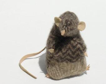 Brown Herringbone Sweater Scrap Rat