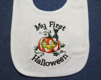 My First Halloween White Embroidered  Baby Bib - Custom Orders Welcome....