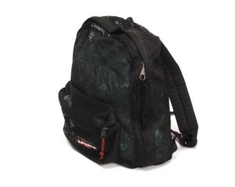 EASTPAK black nylon mesh 80s 90s BACKPACK grunge GOTH unisex rucksack