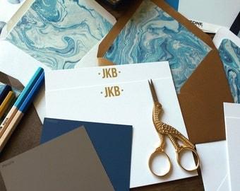 Indigo Marble Luxe Custom Stationery /  Boxed Set of Notes -  (10)
