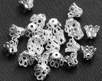 50 pcs of  Silver plated bell flower filigree beadcap 8mm, silver flower beadcap