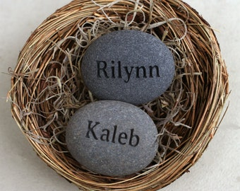Mom's Nest (c) - Set of 2 name stones in bird nest