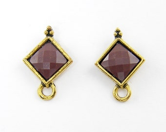 Brown Gold Earring Posts Tribal Faceted Stone Earring Stud Findings with Loop |BR2-1|2