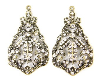 Large Ornate Antique Brass Clear Rhinestone Chandelier Earring Findings Vintage Style Pendant |AN5-7|2