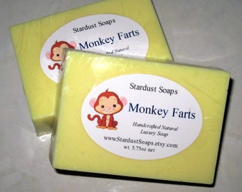 Monkey Farts - Handmade Natural Glycerin Soap (sensitive skin soap, gift soap, fun soap) Stardust Soaps