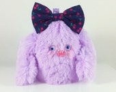 Mini Mad Eyed Monster Plush Key Chain with Cherry Print Bow