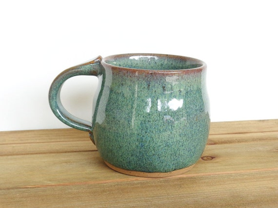 Coffee Cup Ceramic Stoneware in Sea Mist Glaze - Single Pottery Mug