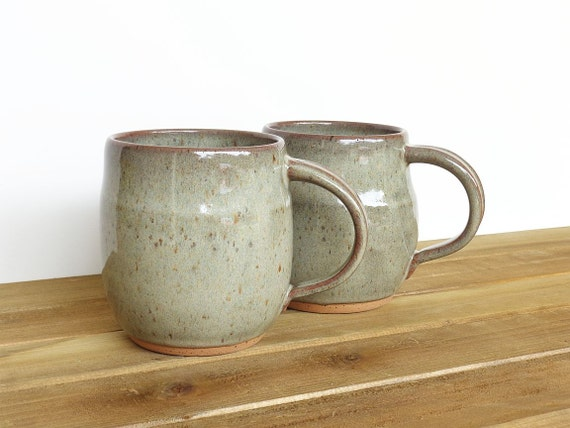 Stoneware Coffee Cups in Fog Glaze - Ceramic Pottery Mugs - Set of 2