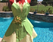 Tiana inspired Dress Up Costume Sassy Apron, Cosplay, Womens Misses and Plus Sizes, Girls Aprons,  Pin Up, Princess and the Frog