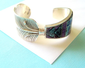 SALE...Navajo Sterling Silver and Multi-Stone Inlay Feather Cuff