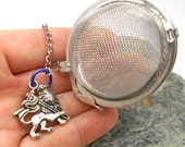 Tea Ball Infuser with Royal Lion English Charm - Lion, Bravery, Courage, Strength, Royalty, Fierceness, Lion
