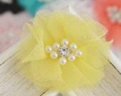 New! 4pcs Handmade Organza Flowers--yellow (FB1073)