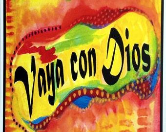 VAYA CON DIOS 11x14 Inspirational Espanol Meditation Quote Blessing Prayer Spanish Religious School Decor Heartful Art by Raphaella Vaisseau
