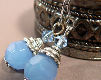 Baby Blue Crystal Earrings, Opaque Blue Crystal Earrings , Rustic Silver Aqua Blue Crystal Earrings, Cloudy Blue Earrings (E630)