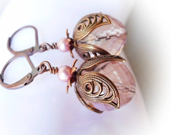 Retro New Vintage Chic copper earrings pink rose glass crystal flower earring leverbacks handmade glass jewelry women's dangle drop earrings