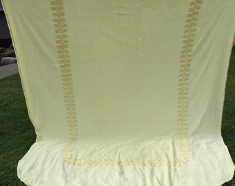 Vintage Yellow Chenille Bedspread with Fringe