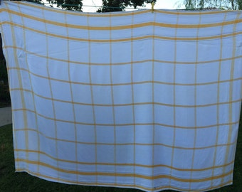 Vintage Sunny Yellow and White Window Pane Tablecloth