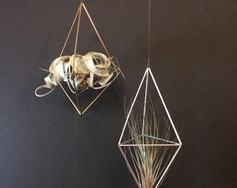 XL Geometric Himmeli Hanger -  long diamond - brass or aluminum