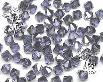 CLEARANCE Sale 60 Swarovski 5301 / 5328 6mm Crystal Tanzanite Satin Bicone Beads