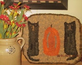 Pumpkin, Cats Primitive Hooked Rug