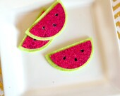 Wool felt blend watermelon slices glitter fuchsia glitter, chartreuse