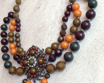 Chunky gypsy boho navaro style  necklace set olive green mixed multi color tone acrylic beads grand layered faceted