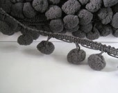 3 to 6 yards Pom Pom Trim - Choose your own yards - Large - Number 71 Charcoal Gray ( Pom pom size  1.2 cm or 1/2 inch )