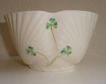 Vintage Irish Belleek Bowl//Shell and Clover Pattern//Bone China