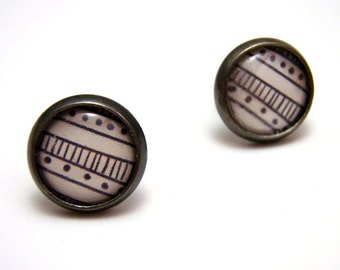 Striped Doodle Studs - Tiny black and white stripes sketch hand drawn pattern post earrings SMALL