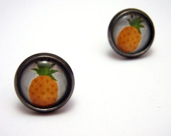 Pineapple Earrings - Cute light blue and yellow tropical fruit gunmetal post kitsch studs - SMALL 10mm
