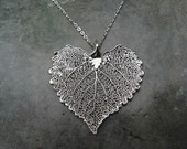 Real Leaf Pendant Necklace Jewelry - Full Moon Maple - Sterling Silver