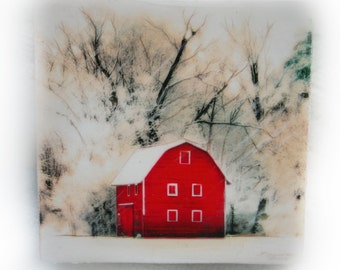 Art, snow, Barn, 4x4, winter,  #EtsyGifts , Country winter, wood mounted photograph, landscape, winter, art, red barn #Barn art #Red barn