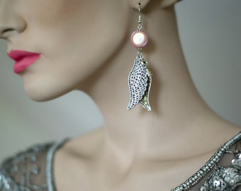 Stunning Silver Double Wing Earrings - Vintage Book Text - Luscious Pink Beads