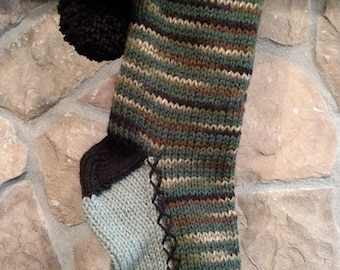 Old Fashioned Hand Knit Christmas Stocking Green Camouflage Burgundy Red Trim with Fir Trees