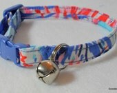 Cat Collar Made with Lilly Pulitzer Multi Feeling Sparks Fabric -Safety Buckle -New