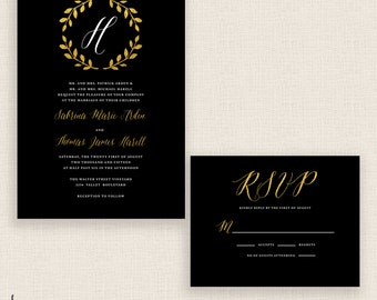 GOLD & GREAT - DIY Printable Wedding Set - Invitation and Reply Card - Gold Wreath and Calligraphy
