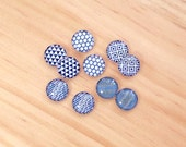 10pcs handmade assorted teal and white round glass dome cabochons / Wooden earring stud 12mm (12-0602)