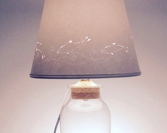 fill your own lamp with hand cut dolphin paper lampglass lamp