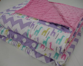Little Giraffes with Lavender Chevron and Dots Minky Comforter Blanket You Choose Size and Minky Color  MADE TO ORDER